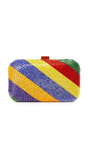Santi Diagonal Bead Box Clutch - Multi
