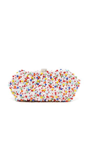 Santi Multi Bead Embroidered Clutch In Multi