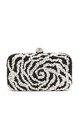 Santi Camelia Beaded Box Clutch - Black/White