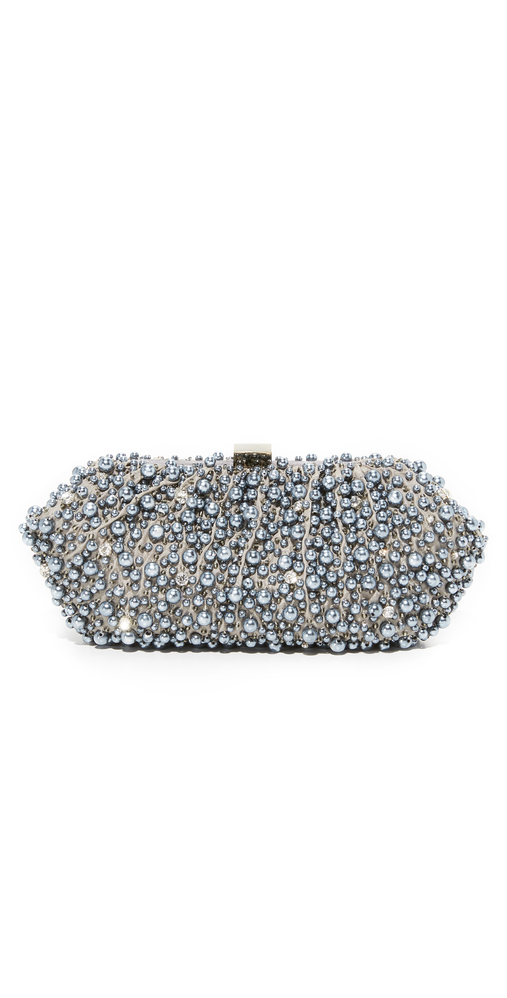 Grey Imitation Pearl Embroidered Clutch Santi