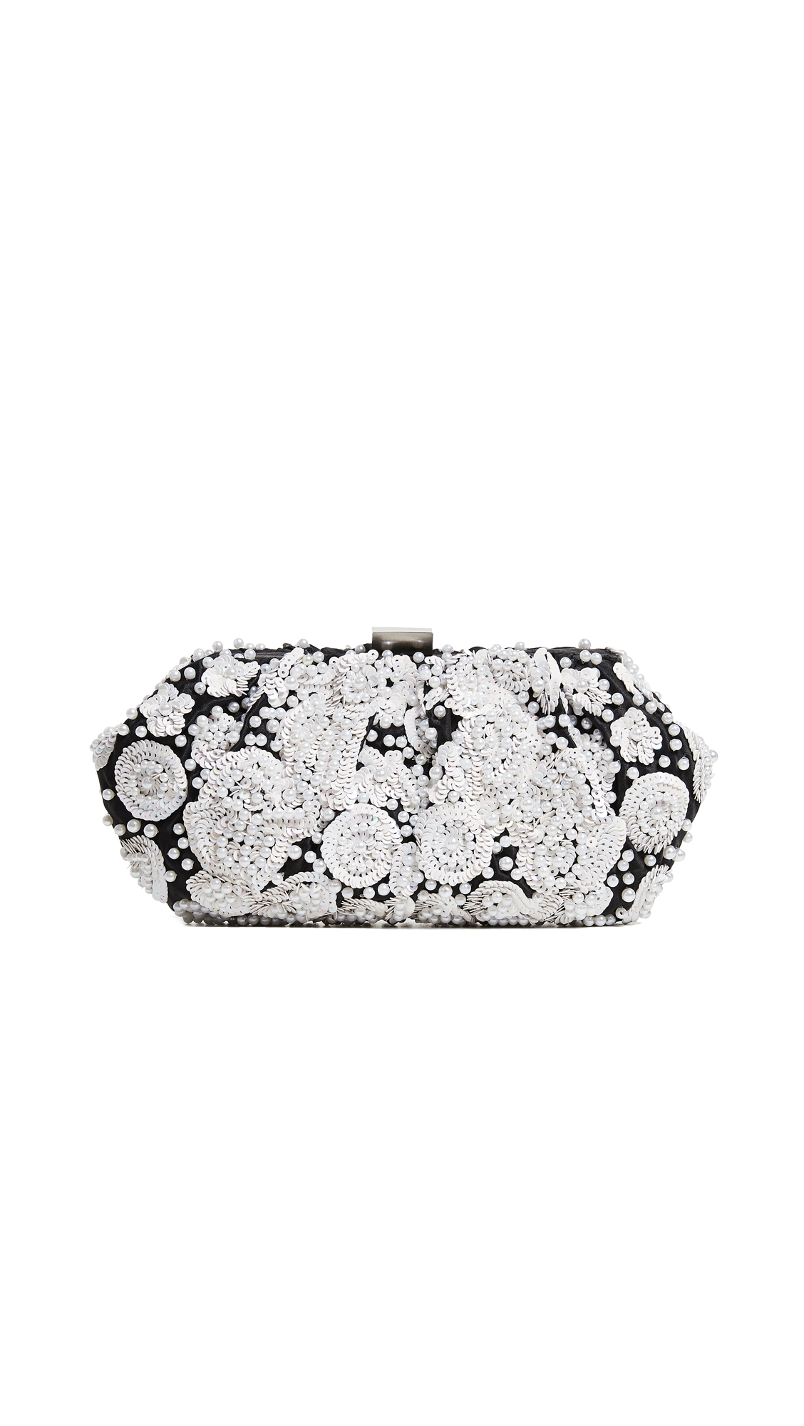Santi Floral Beaded Clutch In Black/White