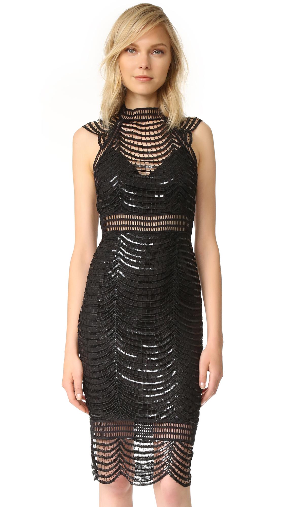 Saylor Heloise Scallop Sequin Dress - Black