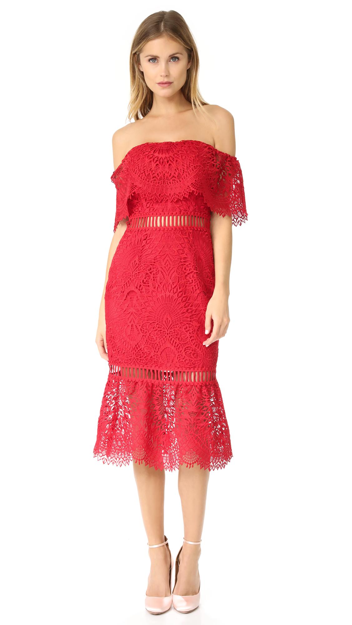 Saylor Cornelia Sistine Embroidery Dress - Red