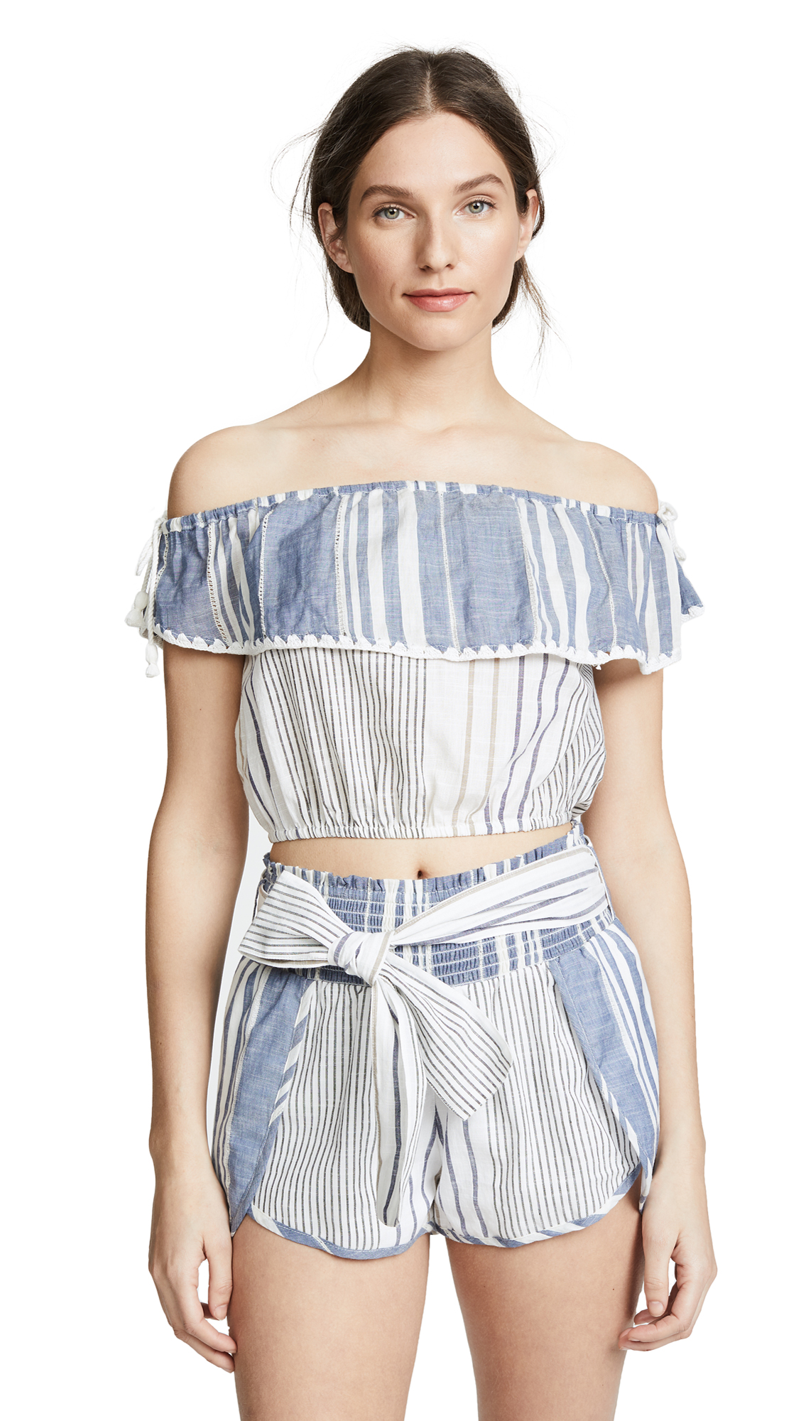 Saylor Thia Off the Shoulder Top & Shorts Set In Blue/White