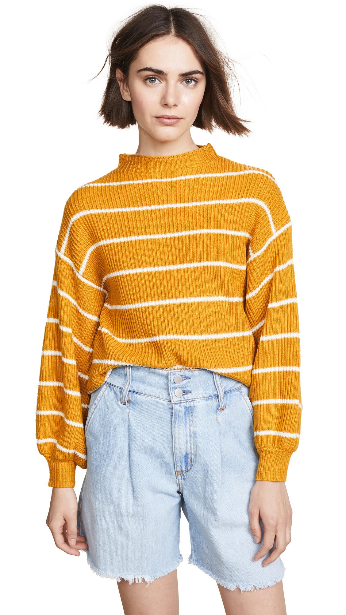 Saylor Bette Striped Mock Neck Sweater In Mustard