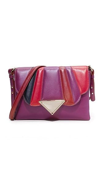 Sara Battaglia Tulip Shoulder Bag - Violet/Black/Red