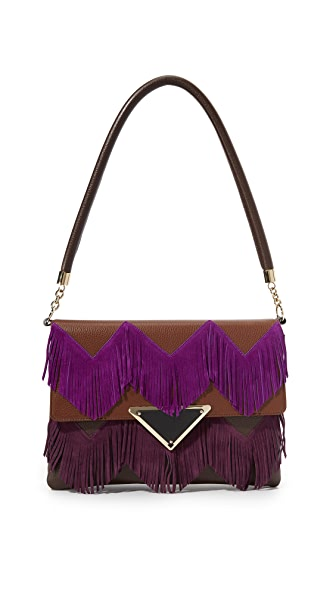 Sara Battaglia Jasmine Shoulder Bag - Brown/Violet