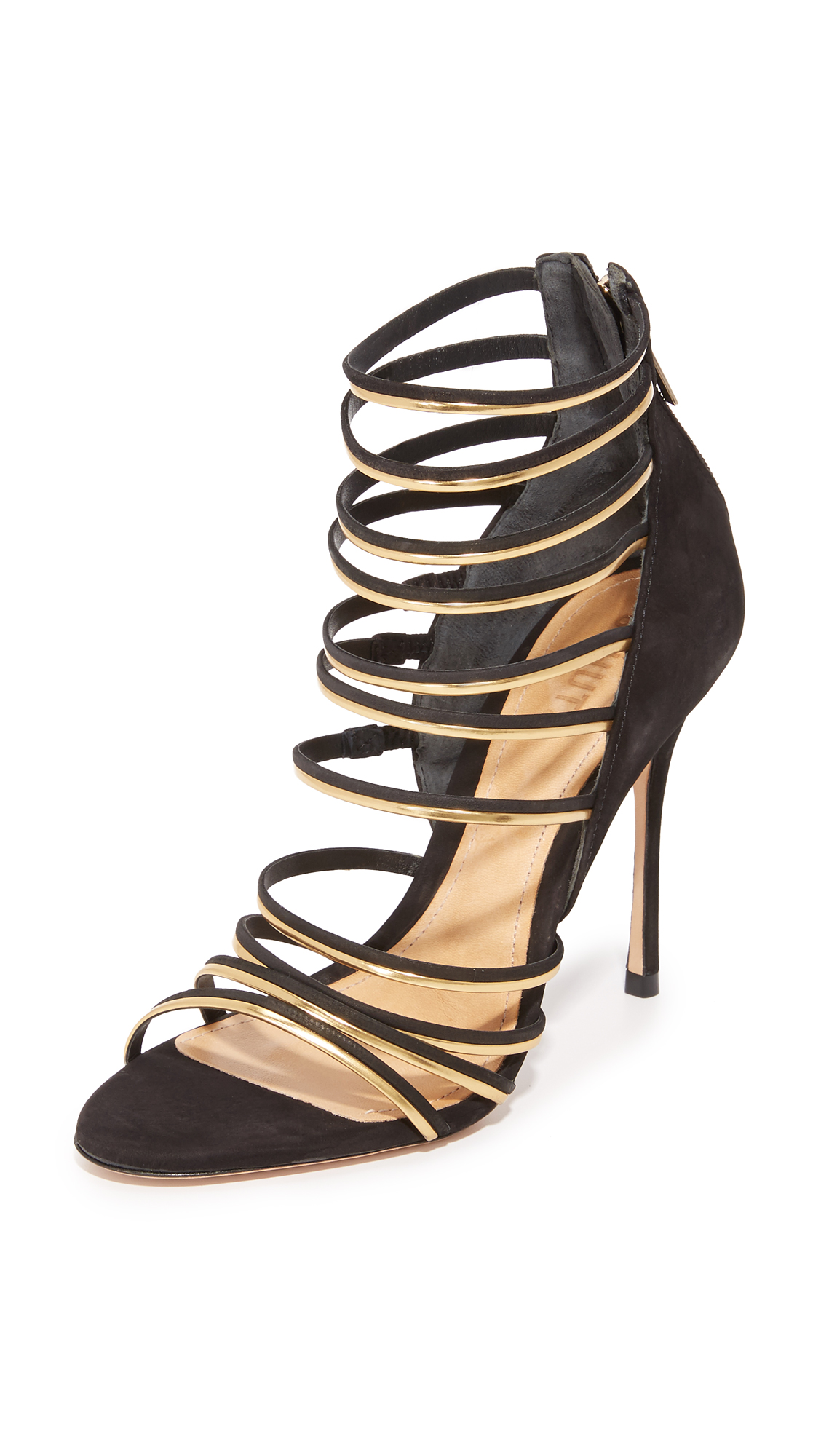 Schutz Myrna Sandals - Black/Ouro