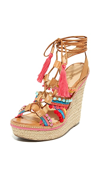 Schutz Mella Wrap Wedge Sandals - Bamboo
