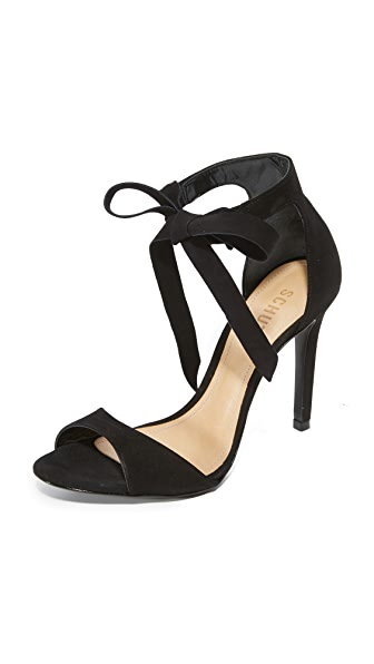 Schutz Rene Tie Sandals - Black