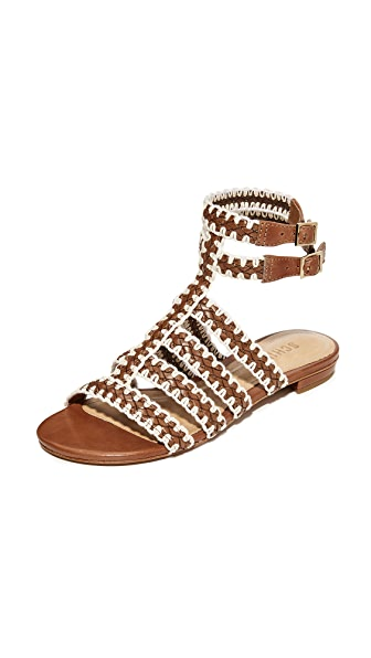 Schutz Lorena Flat Sandals - Saddle