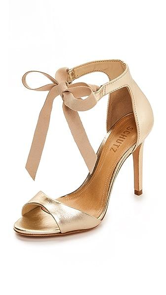 Schutz Rene Tie Sandals In Platina