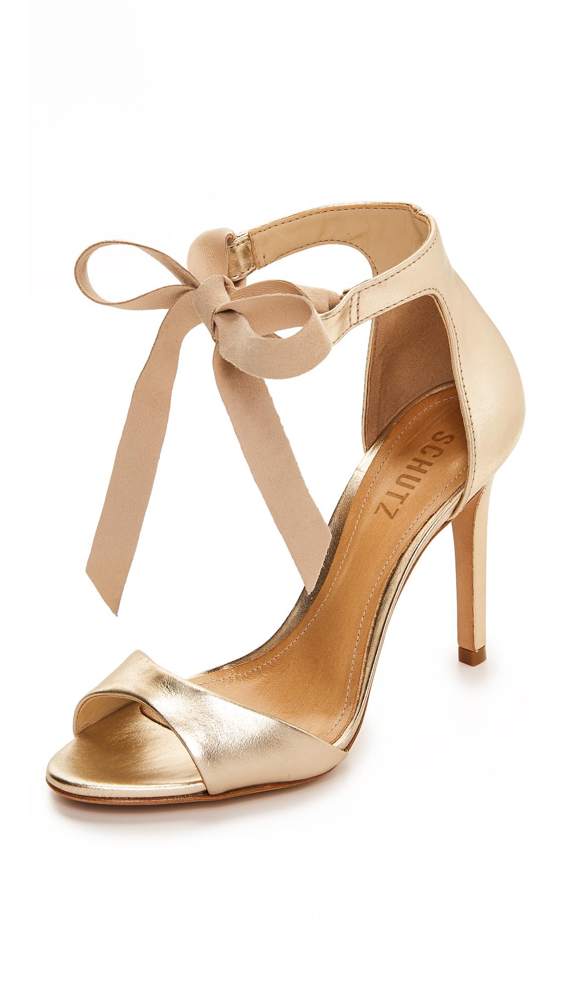 Schutz Rene Tie Sandals - Platina