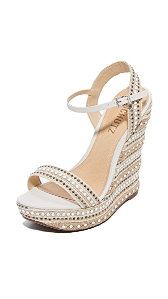 Schutz Carminda Platform Wedges - Natural White/White