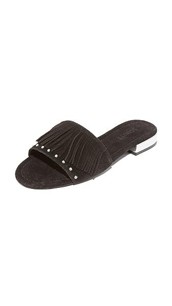 Schutz Zilu Fringe Slides - Black