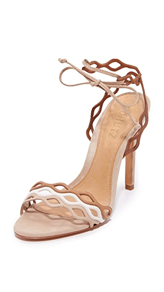 Schutz Jaffy Wrap Sandals - Amber Light/Pearl/Desert