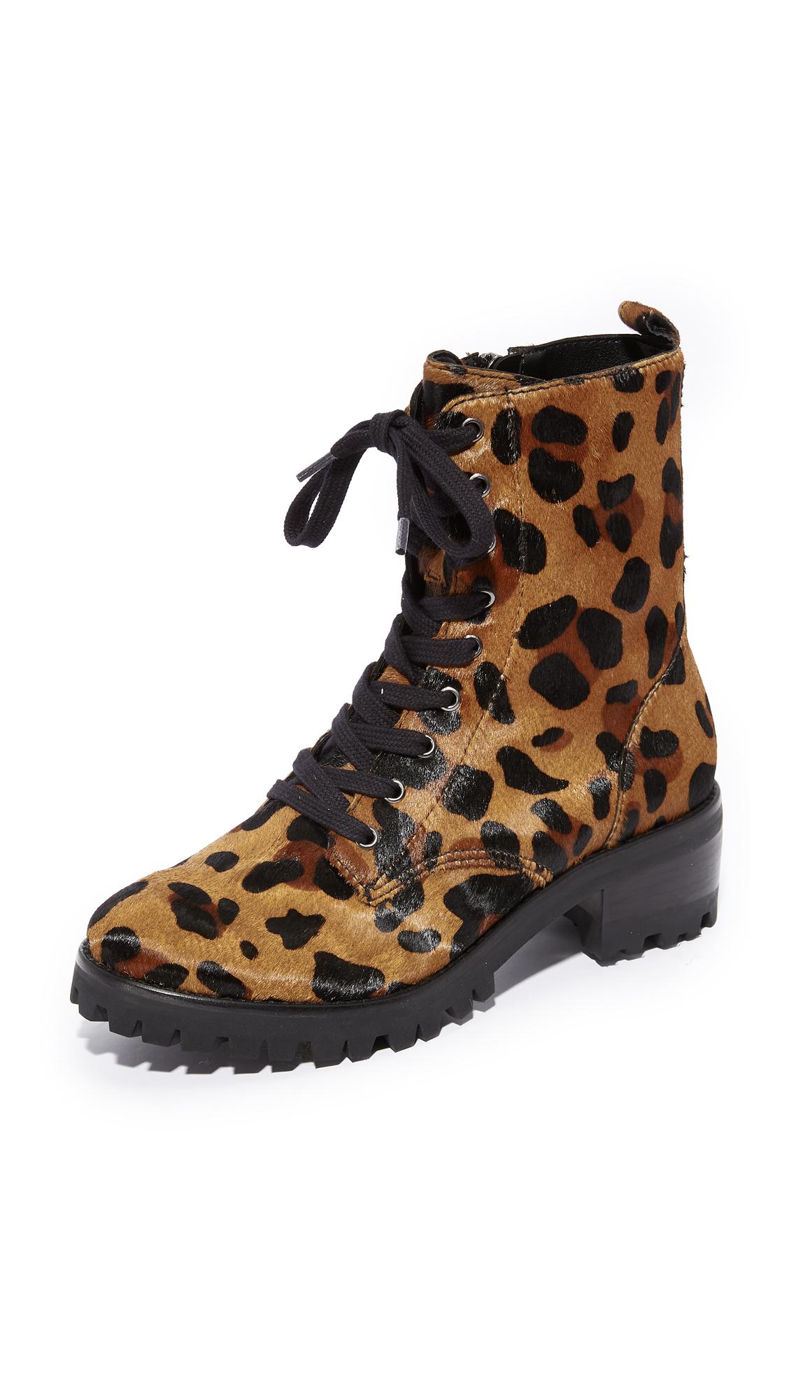 Schutz Zumira Lace Up Combat Boots - Leopard