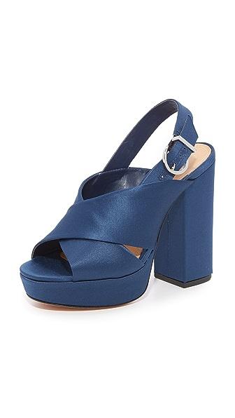 Schutz Millie Peep Toe Heels - Dress Blue