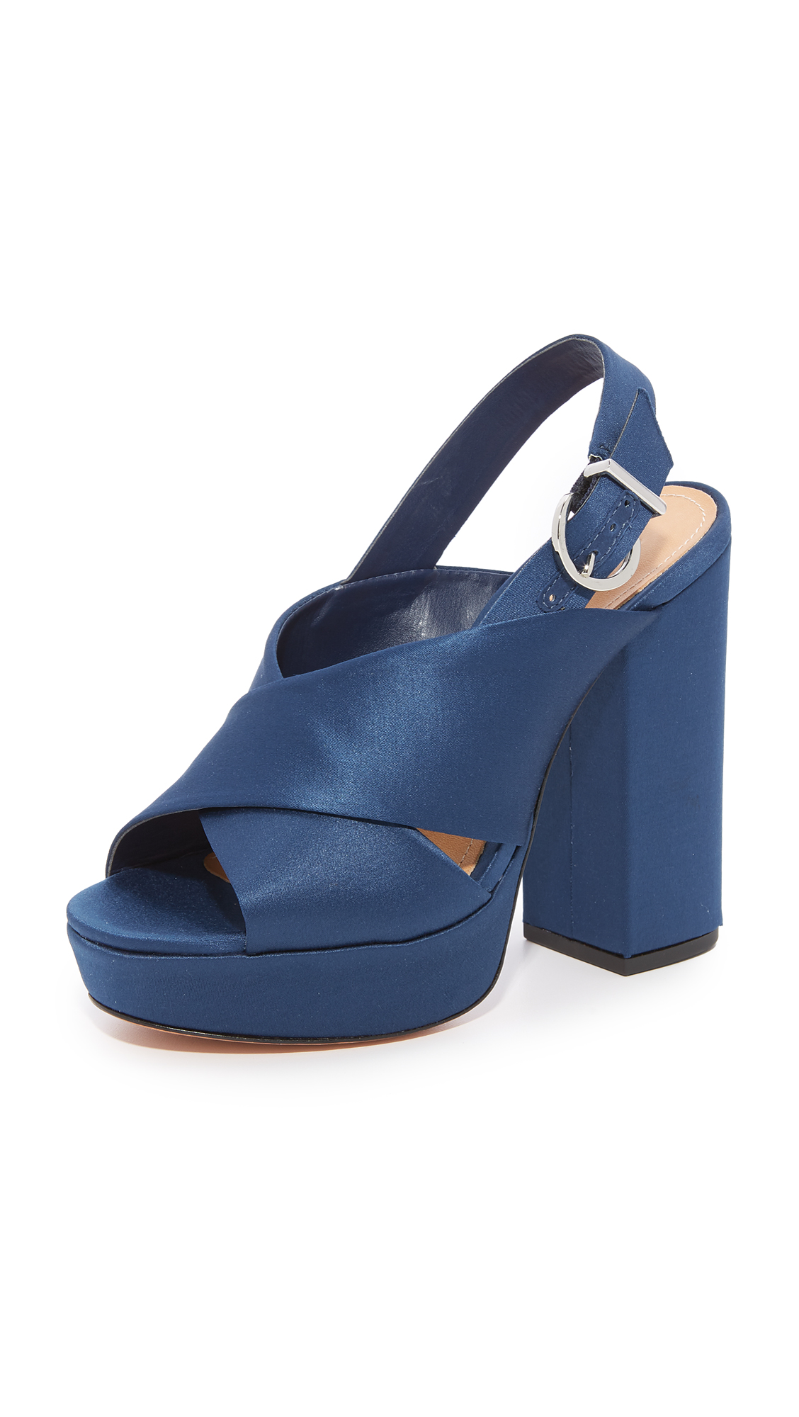 Schutz Millie Peep Toe Heels - Dress Blue