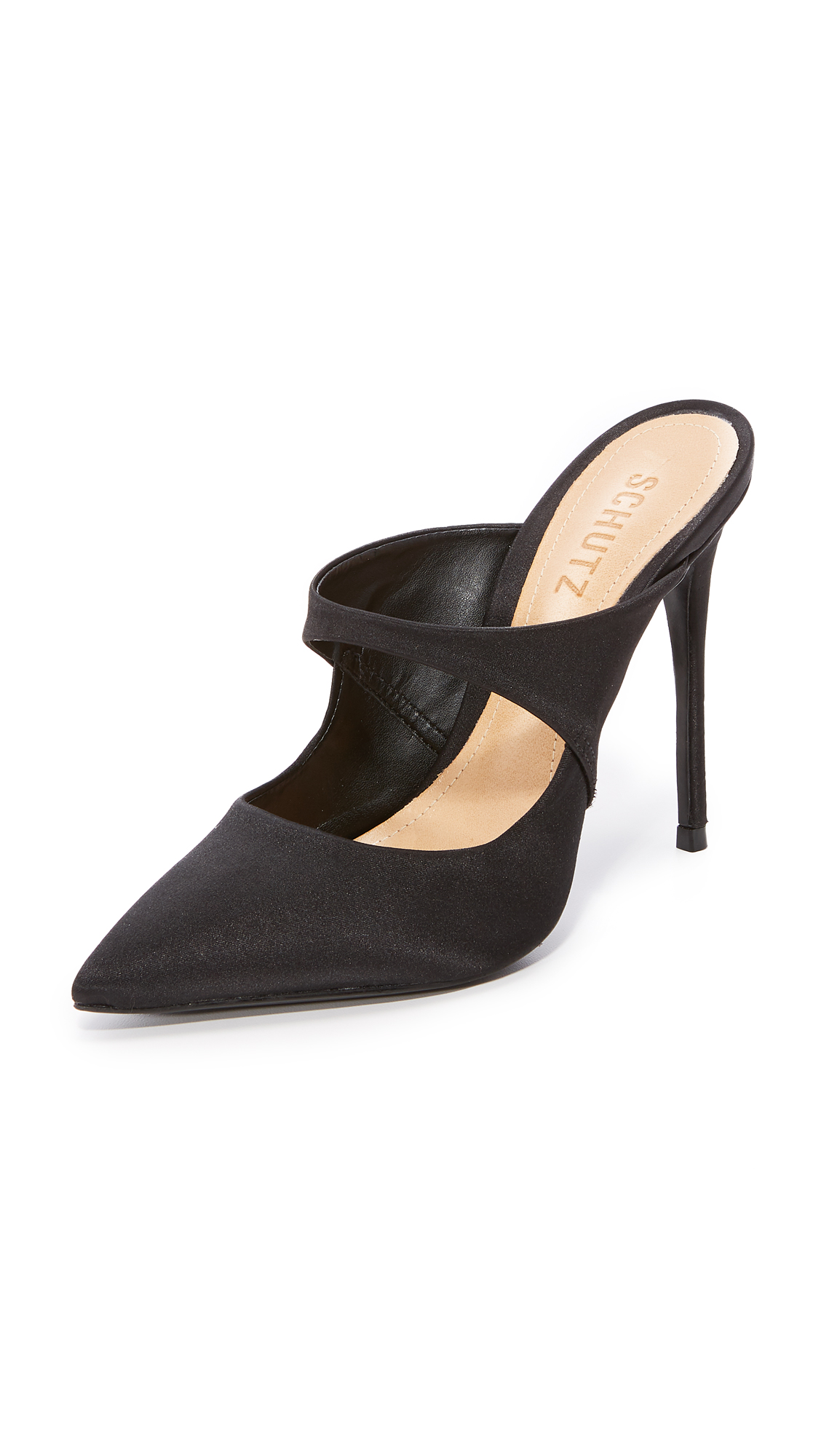 Schutz Nicolly Pointed Toe Heeled Mules - Black