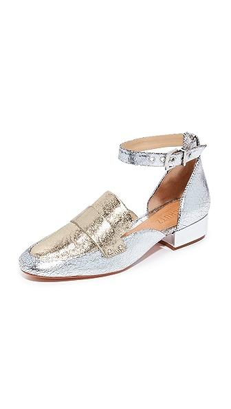Schutz Moka Ankle Strap Loafers In Prata