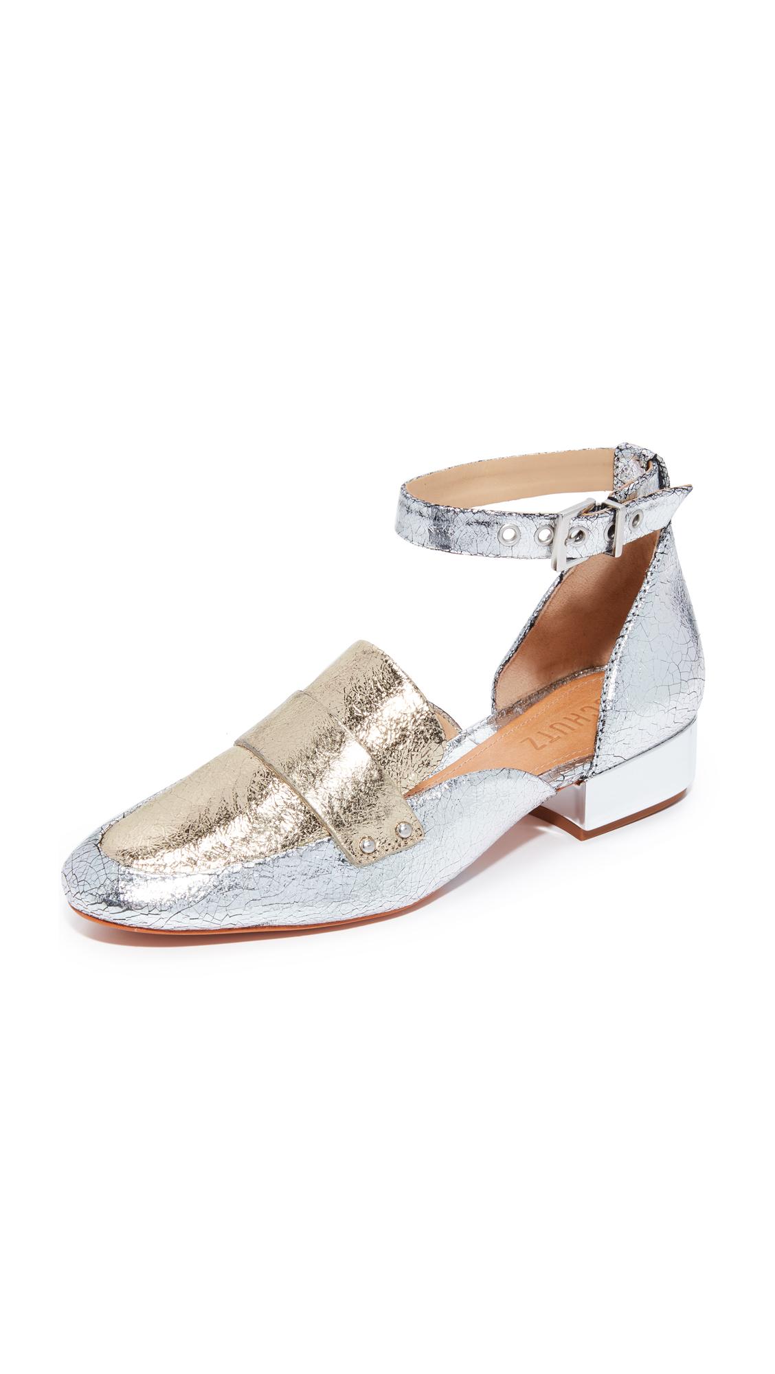 Schutz Moka Ankle Strap Loafers - Prata