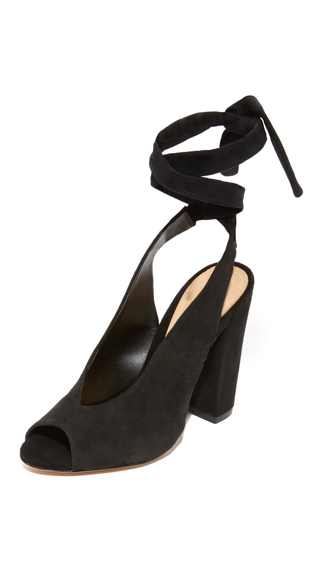 Schutz Archie Wrap Peep Toe Heels - Black