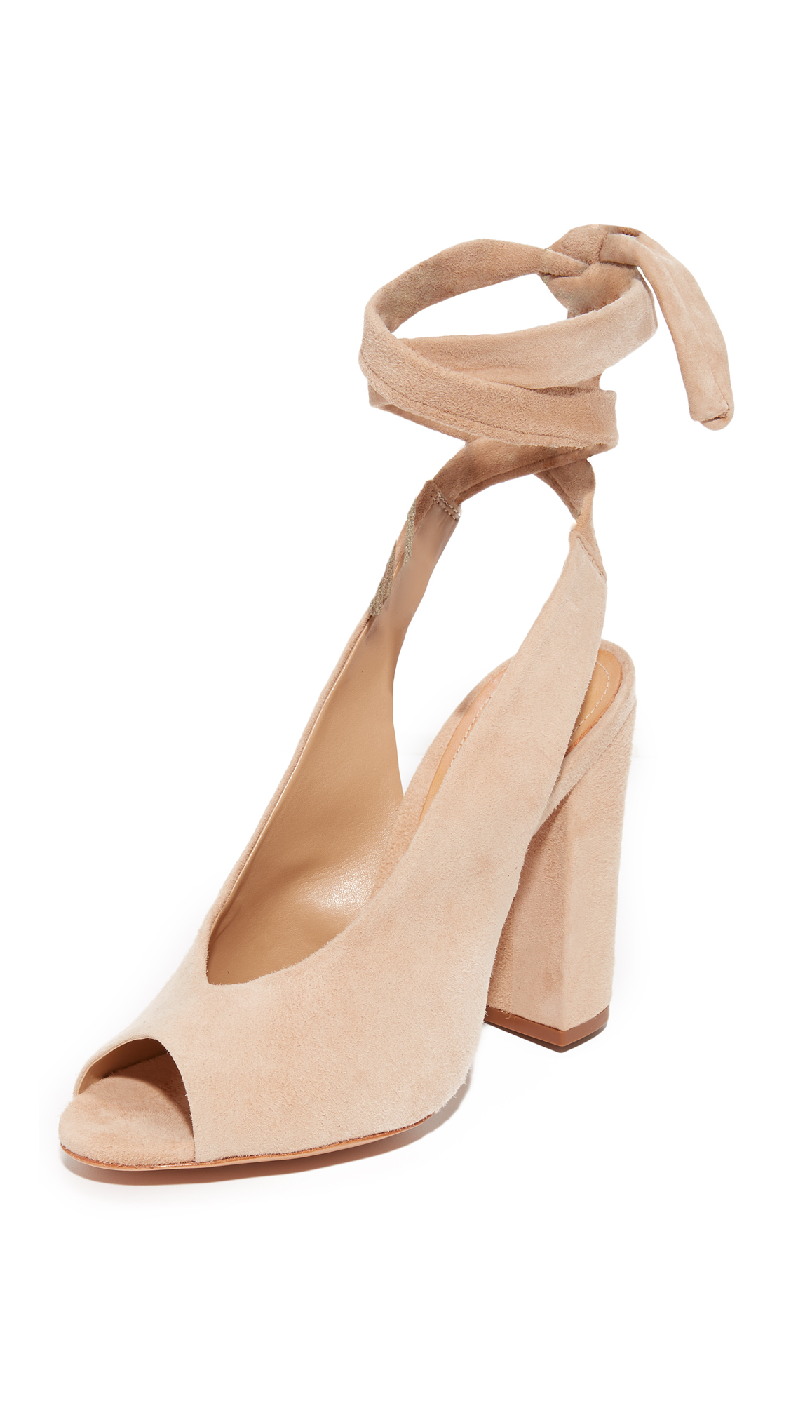 Schutz Archie Wrap Peep Toe Heels - Amber Light