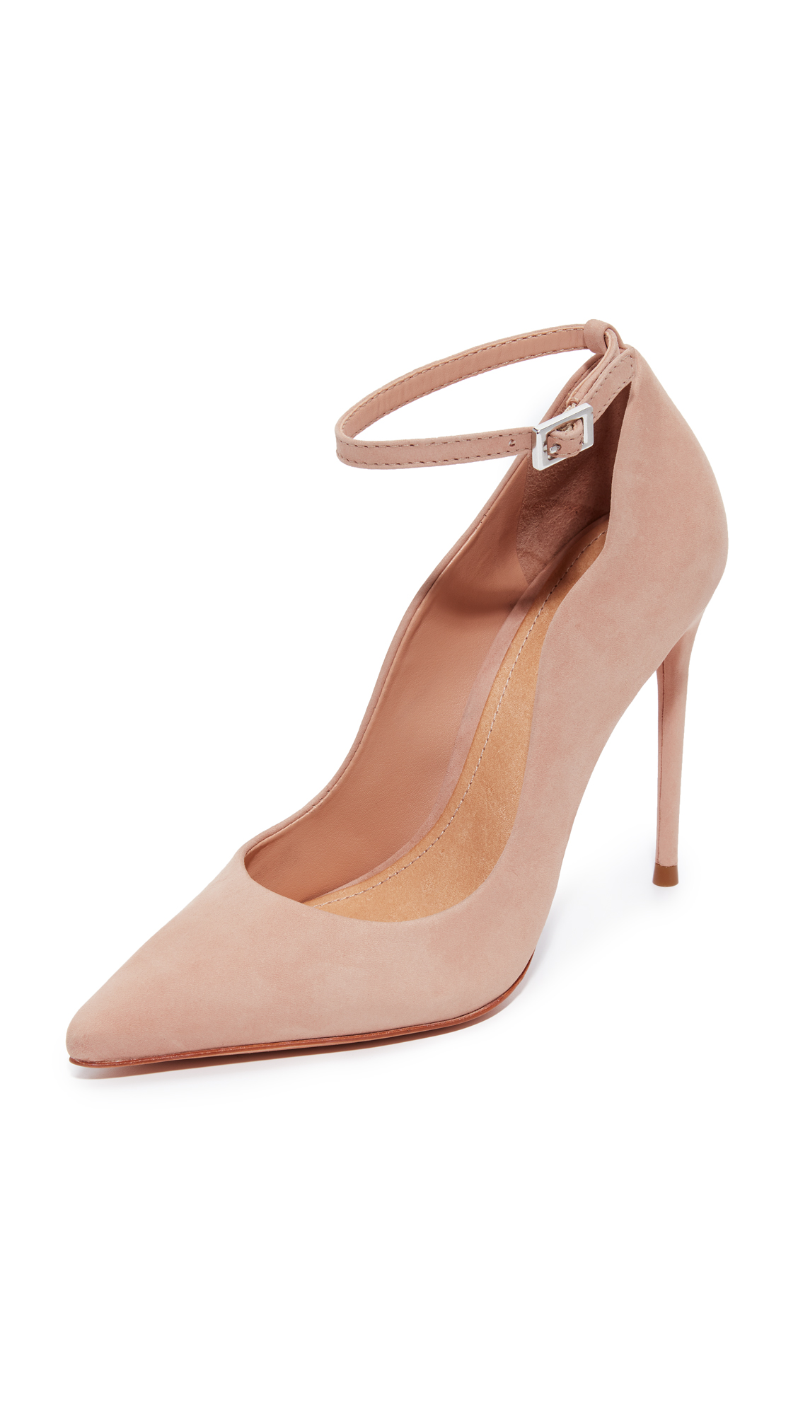 Schutz Thaynara Ankle Strap Pointed Heels - Amendoa