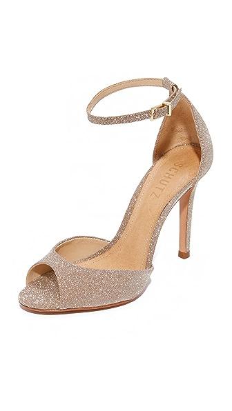 Schutz Sasha Lee Ankle Strap Heels In Ouro