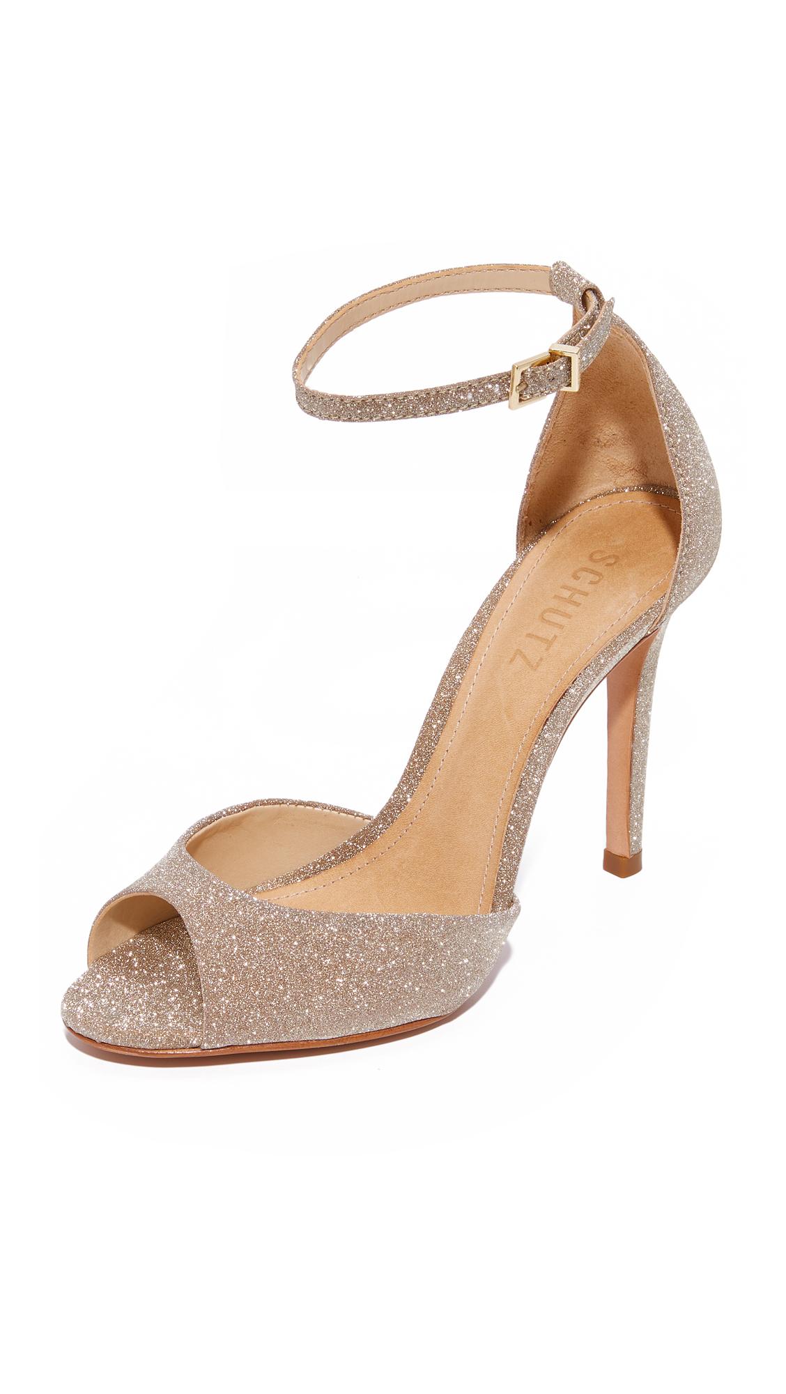 Schutz Sasha Lee Ankle Strap Heels - Ouro