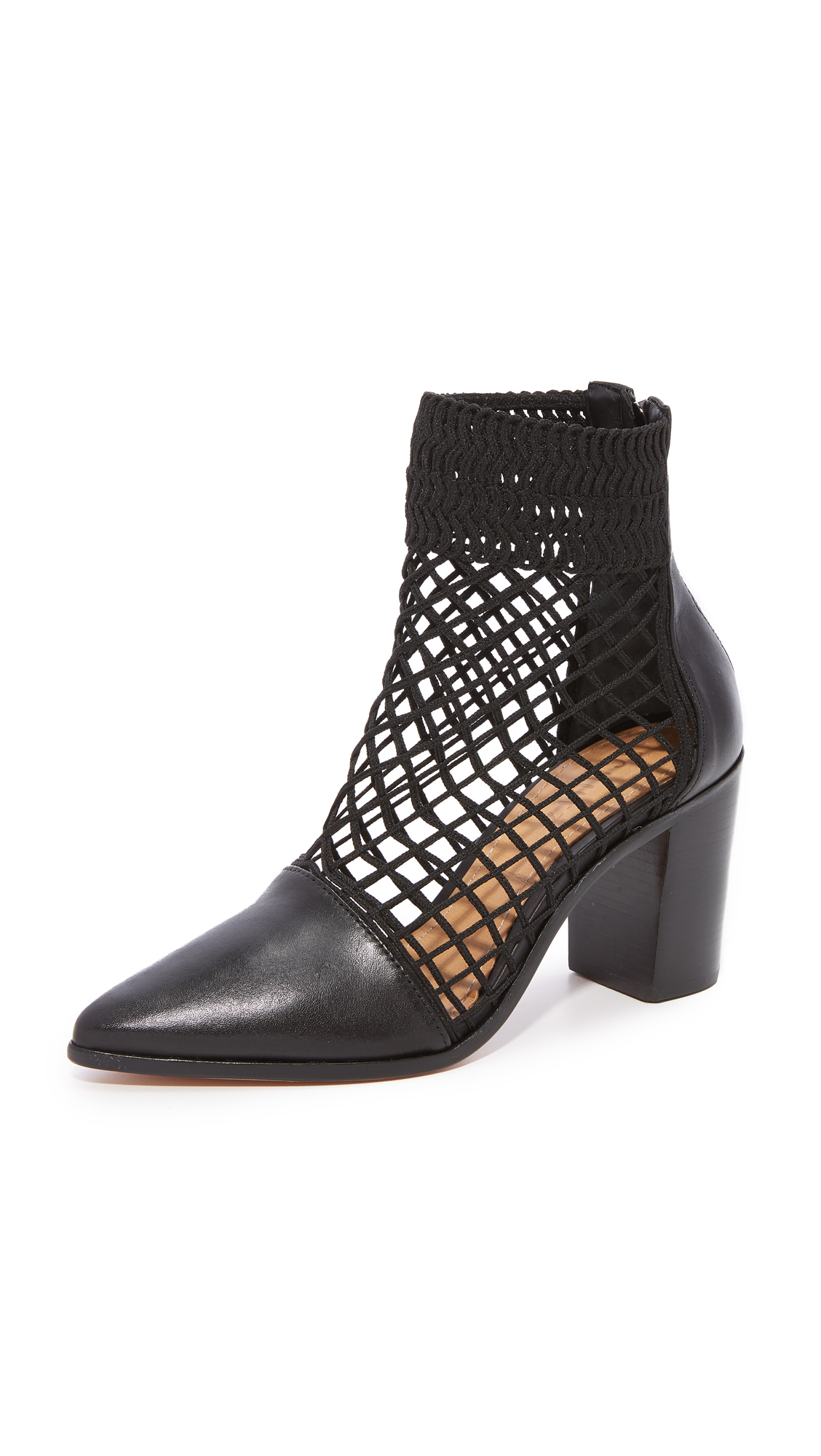 Schutz Rosmari Fishnet Booties - Black