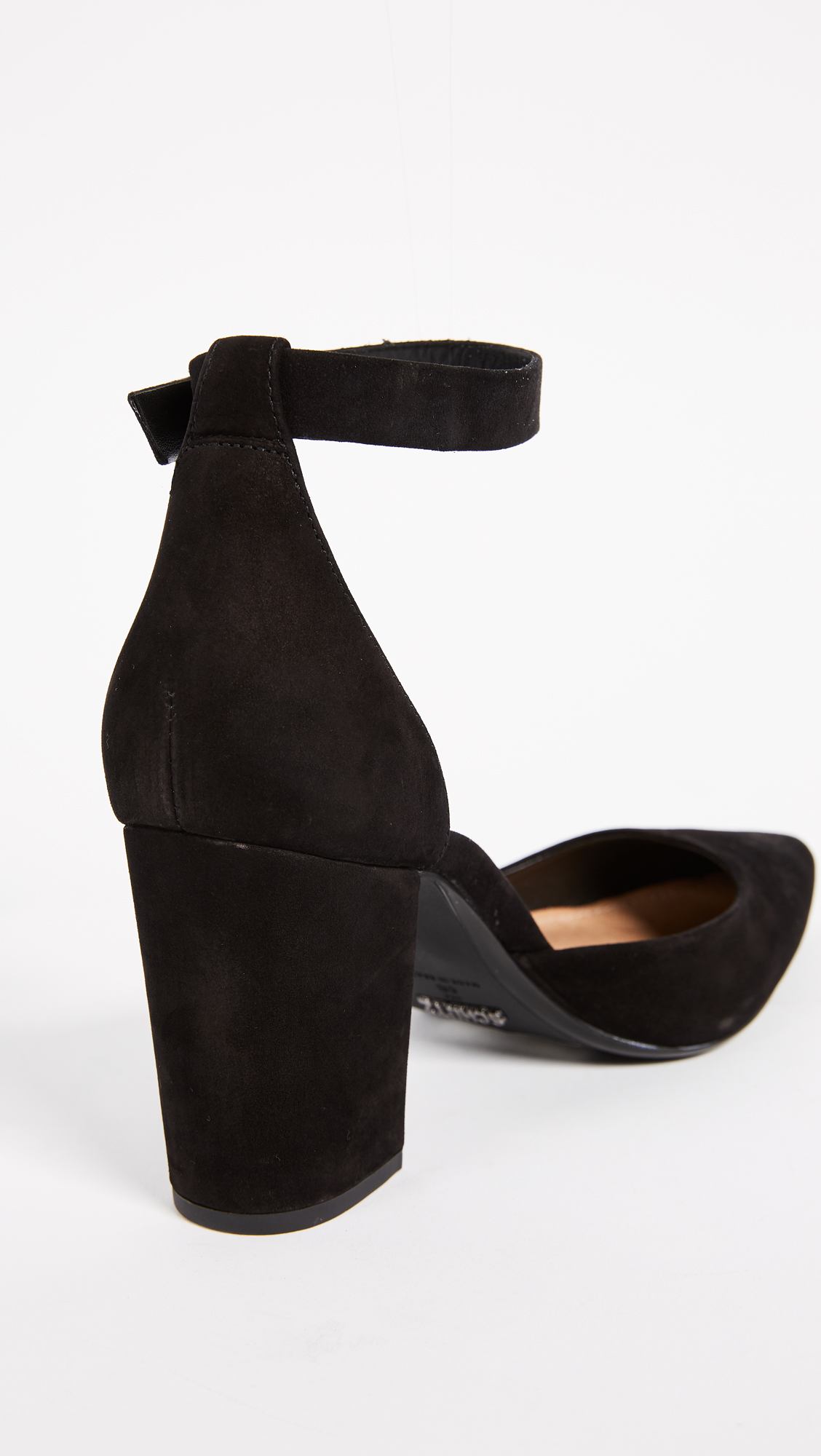 Schutz Ionara Ankle Strap Pumps Shopbop Mary Janes Straps Circle Block Pointed Toe Wedges Shoes Black