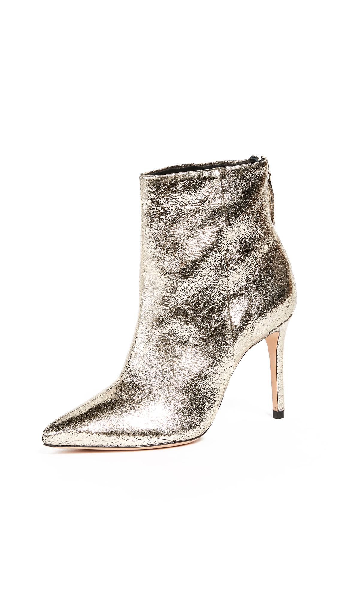 Schutz Ginny Point Toe Ankle Boots - Platina