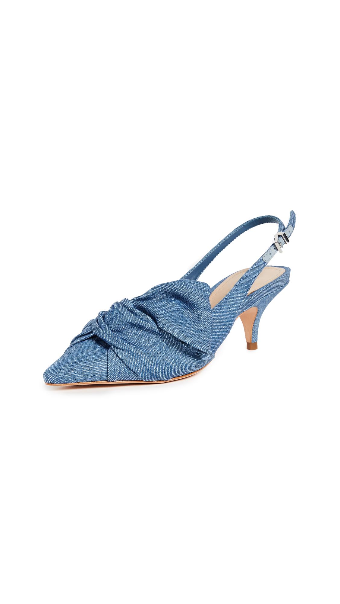 Schutz Hirata Kitten Heel Slingbacks - Light Blue