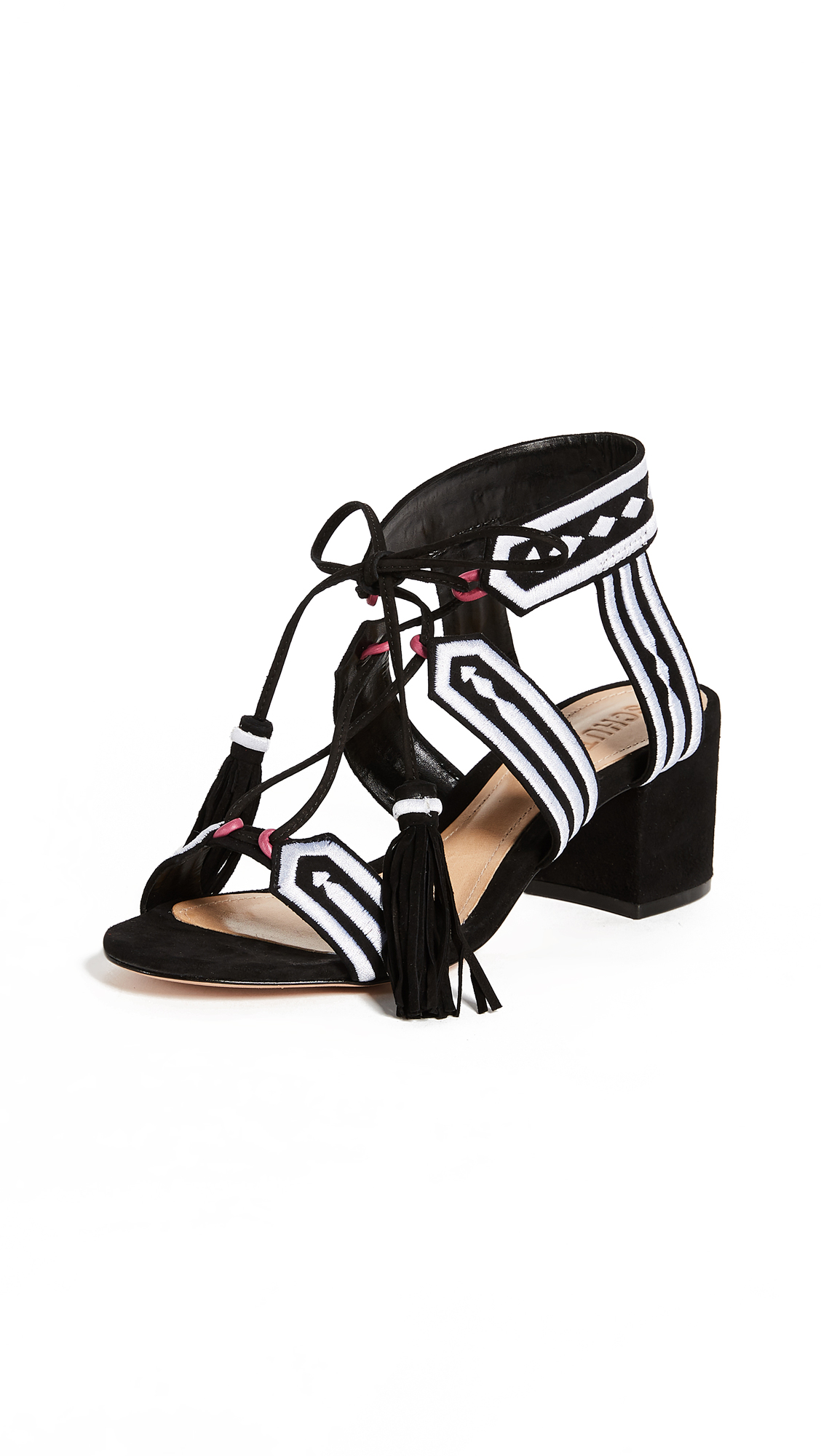 Schutz Liessel Block Heel Sandals - Black/White