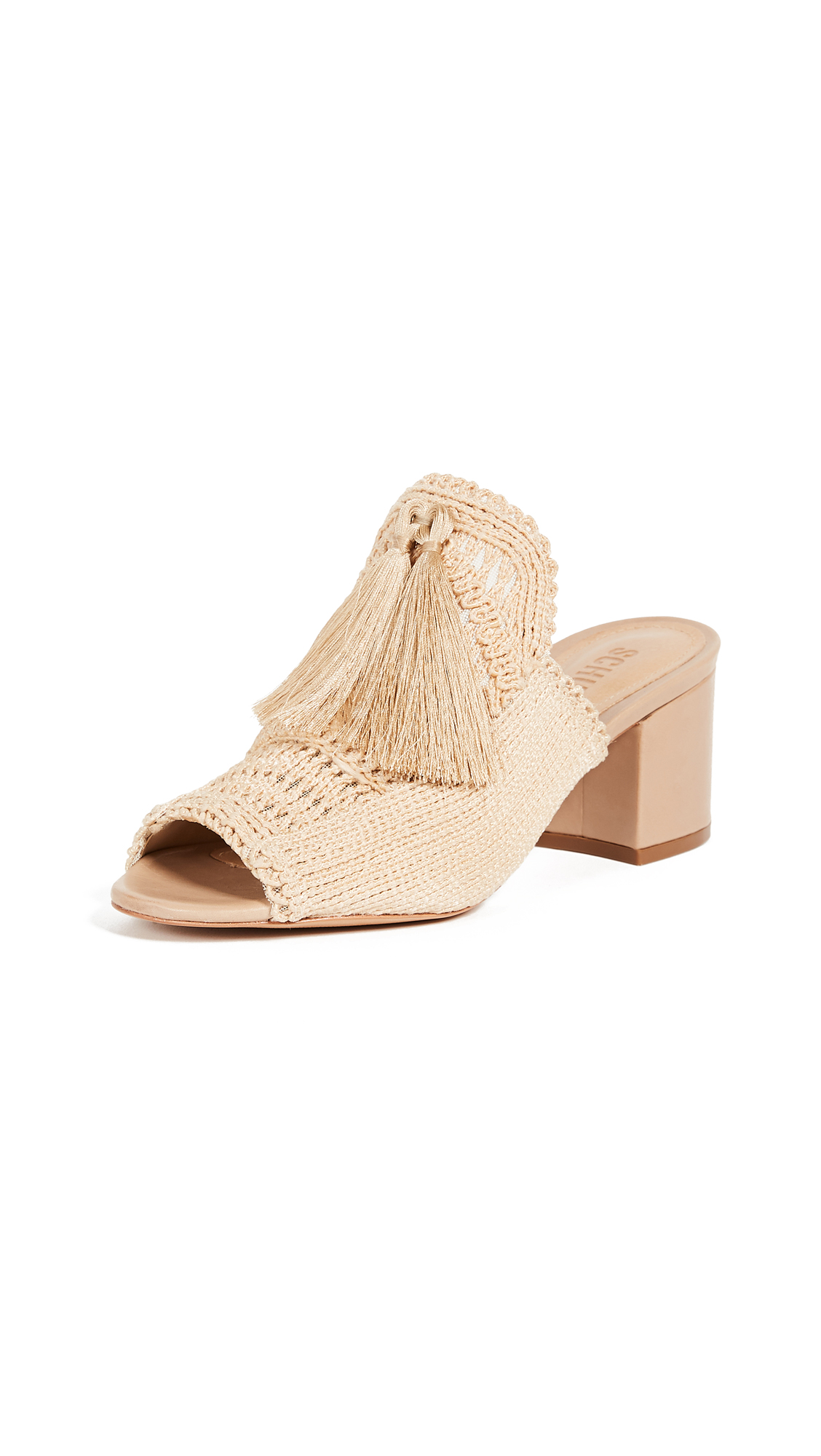 Schutz Moonie Block Heel Mules - Natural