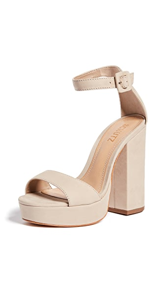 Schutz Mikella Block Heel Sandals In Oyster