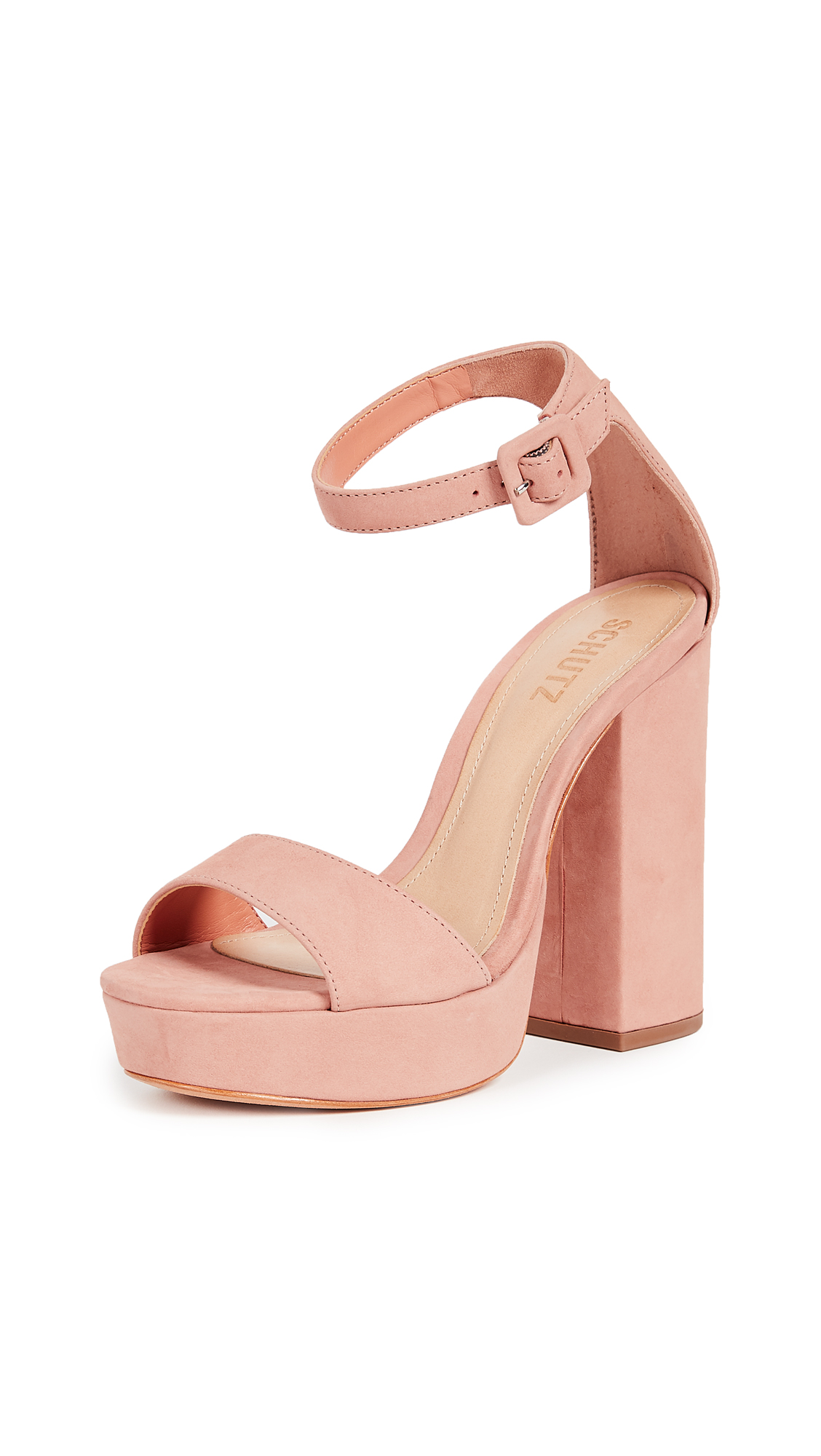 Schutz Mikella Block Heel Sandals - Belle Rose