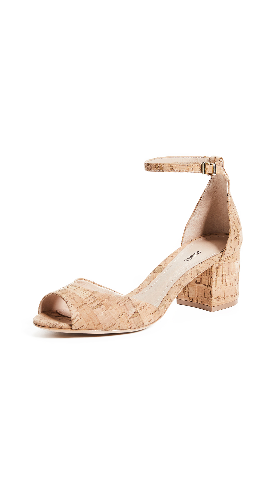 Schutz Roama Ankle Strap Sandals - Natural
