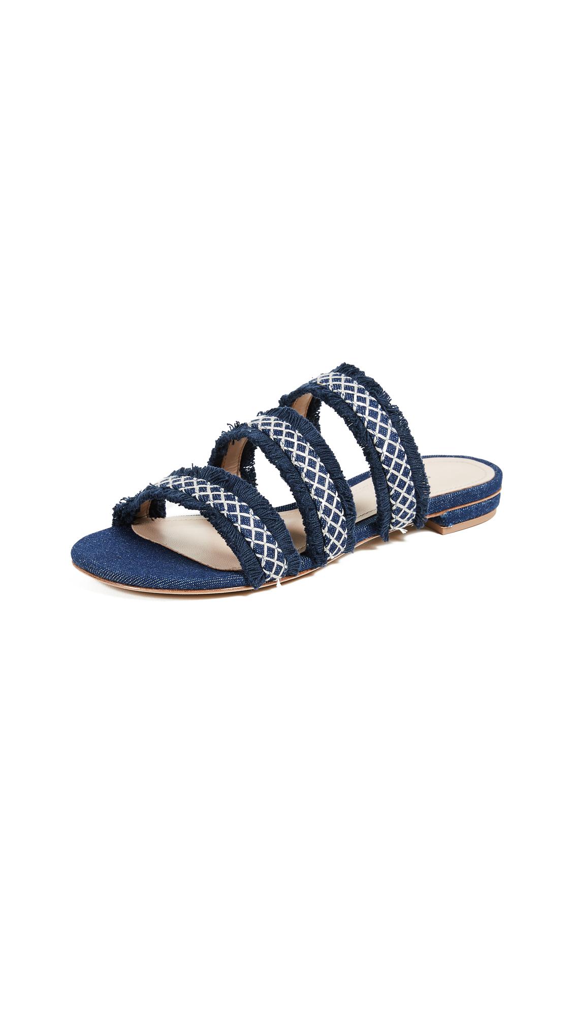 Schutz Jackeila Strappy Flat Slides - Blue