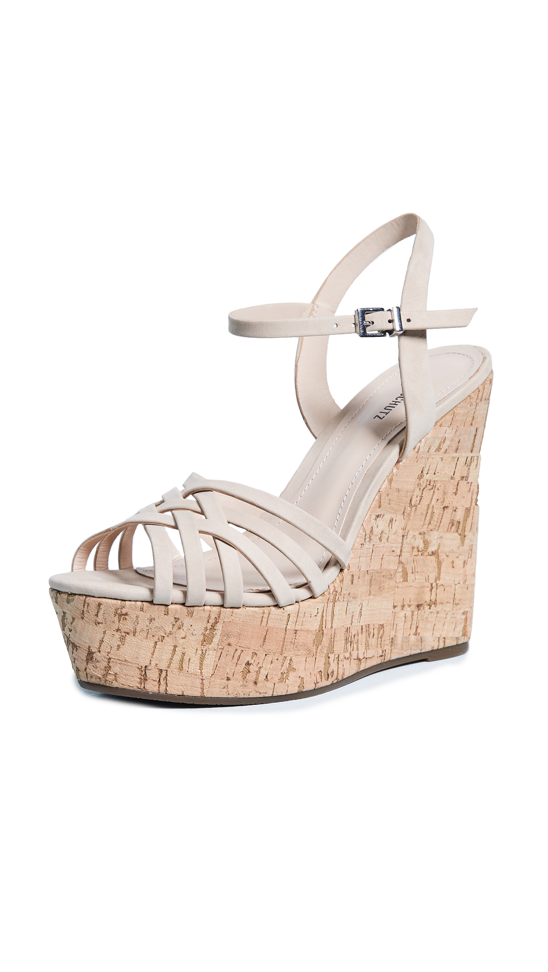 Schutz Louna Strappy Wedge Sandals - Oyster