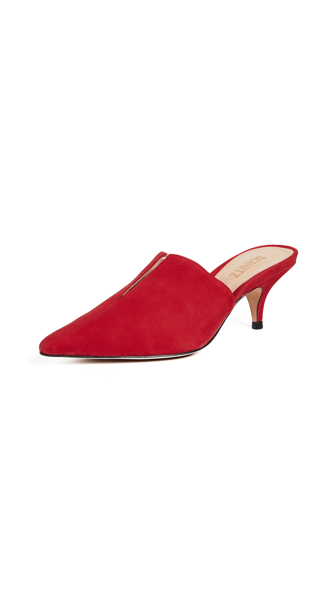 Schutz Ivna Kitten Heel Mules - Club Red