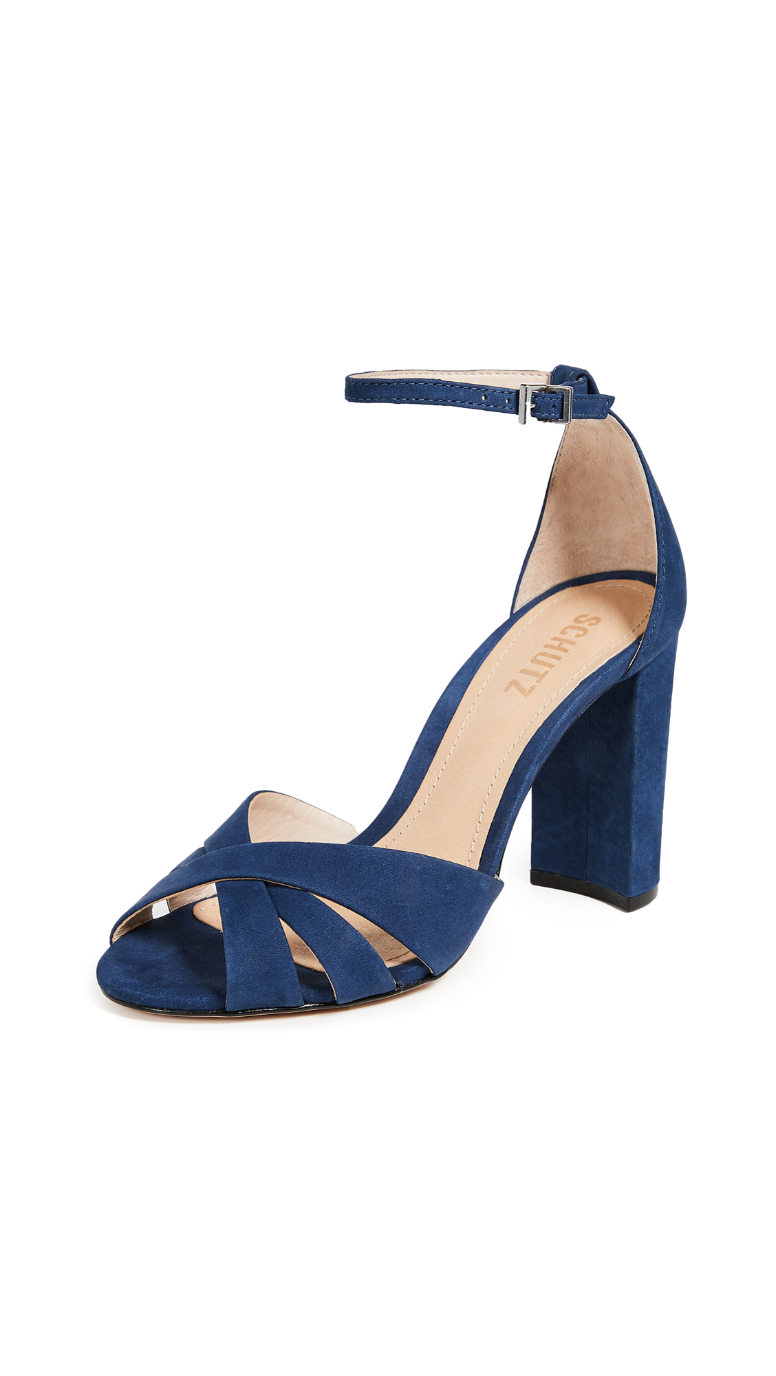 Schutz Alzira Block Heel Sandals - Dress Blue