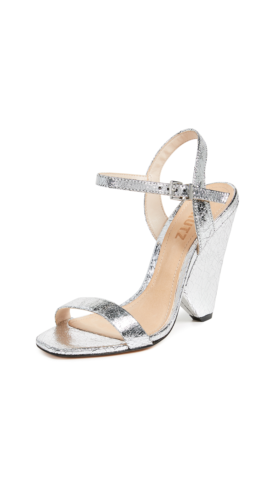 Schutz Liliane Metallic Sandals - Prata