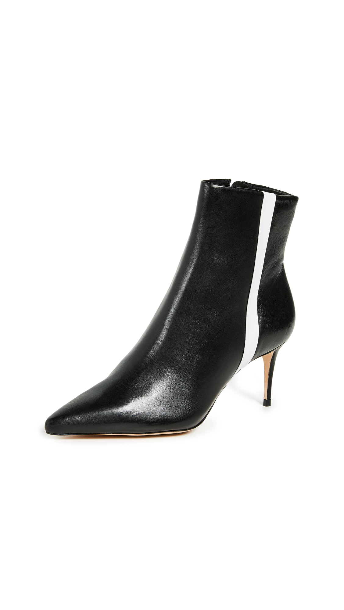 Schutz Adrien Stripe Booties - Black/White