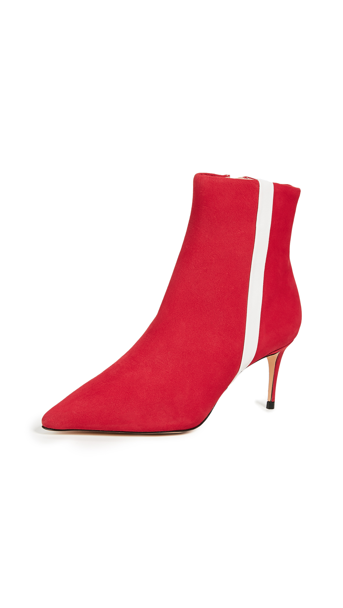 Schutz Suede Adrien Stripe Booties - Red/White