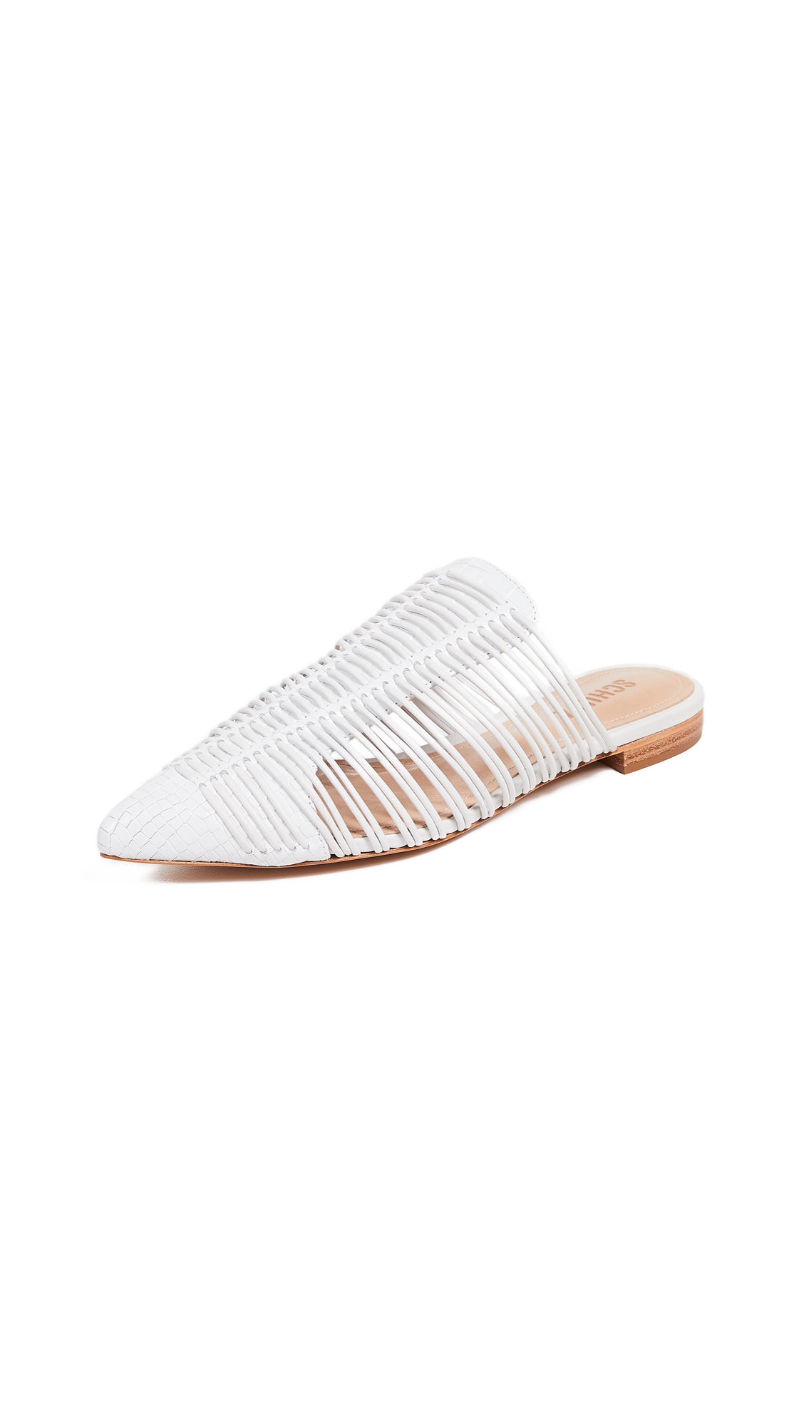 Schutz Rosalyn Point Toe Mules In White