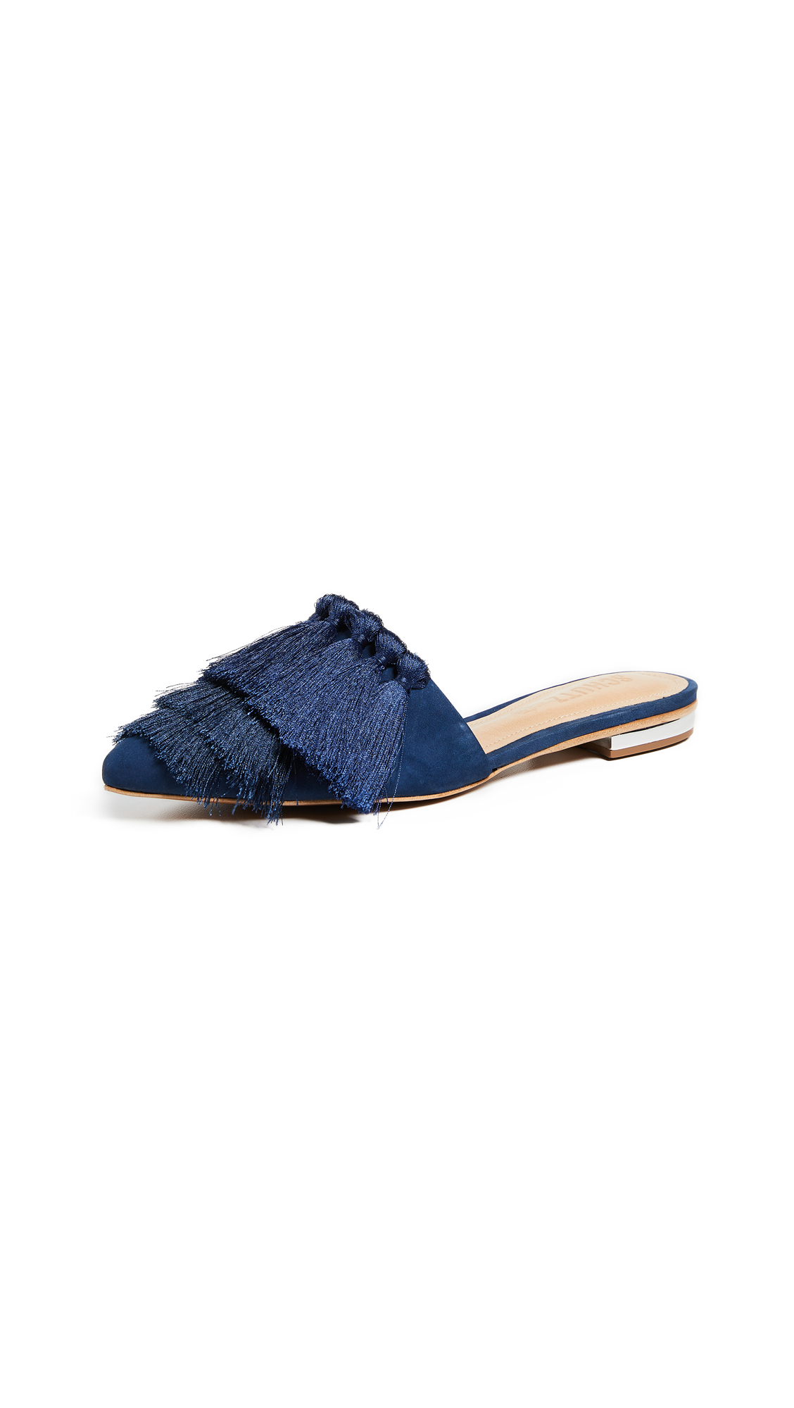 Schutz Lale Tassel Point Toe Flats - Dress Blue
