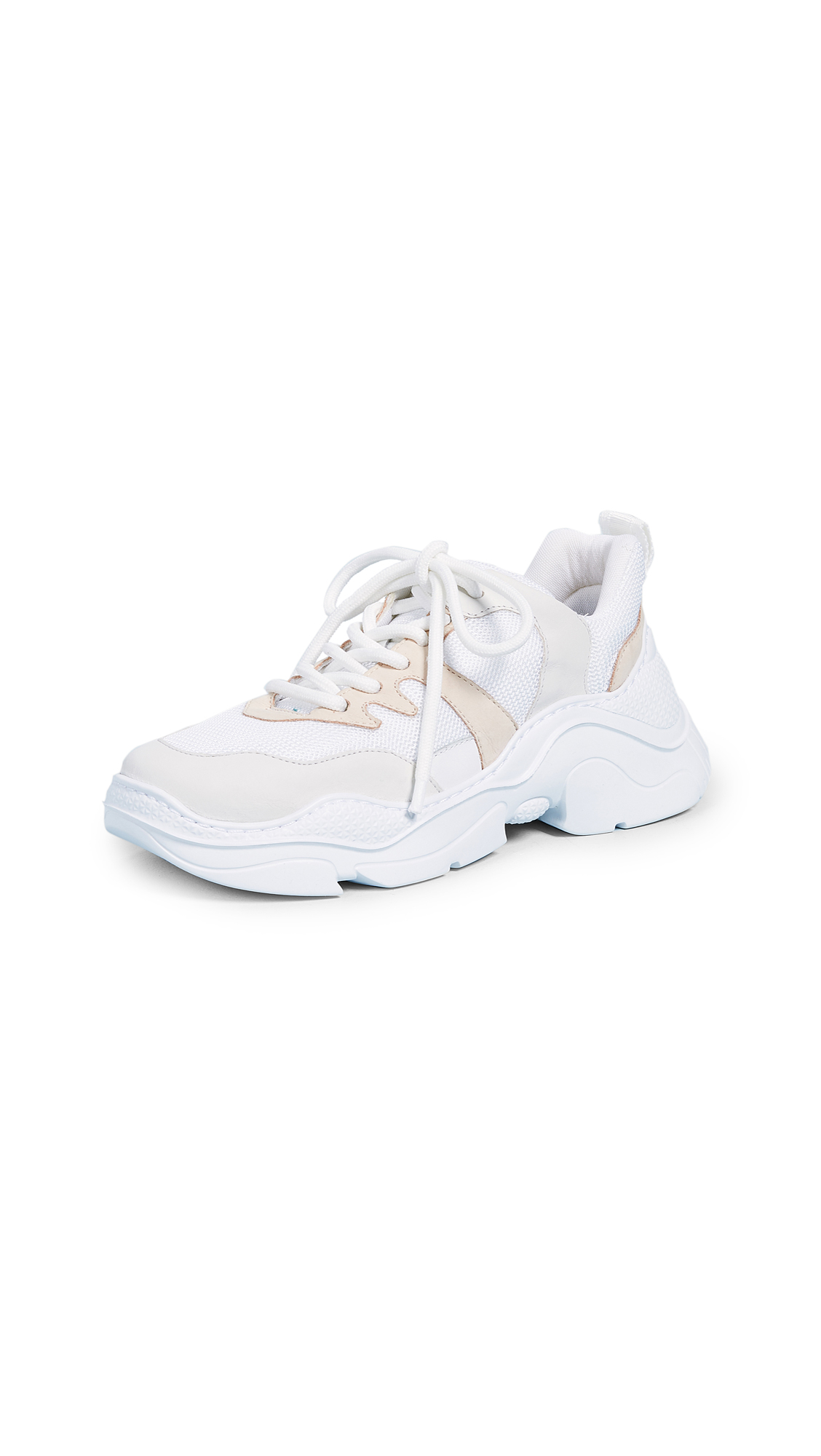 Schutz Lace Up Sneakers - White/Pearl